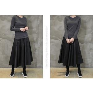 フレアスカート レディース 40代 50代 60代 ファッション おしゃれ 女性 上品 黒 レザー配色 冬 ミセス|alice-style|06
