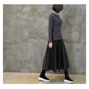 フレアスカート レディース 40代 50代 60代 ファッション おしゃれ 女性 上品 黒 レザー配色 冬 ミセス|alice-style|07