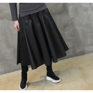 フレアスカート レディース 40代 50代 60代 ファッション おしゃれ 女性 上品 黒 レザー配色 冬 ミセス|alice-style|08