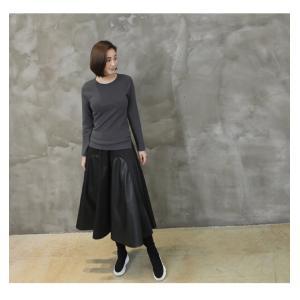 フレアスカート レディース 40代 50代 60代 ファッション おしゃれ 女性 上品 黒 レザー配色 冬 ミセス|alice-style|09