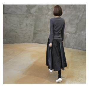 フレアスカート レディース 40代 50代 60代 ファッション おしゃれ 女性 上品 黒 レザー配色 冬 ミセス|alice-style|10