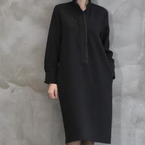 ワンピース レディース 40代 50代 60代 ファッション おしゃれ 女性 上品  黒 スーツワンピース 無地 きれいめ 長袖 膝丈 通勤 冬 ミセス|alice-style