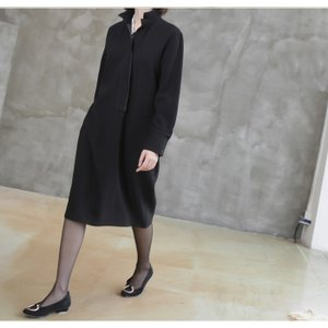 ワンピース レディース 40代 50代 60代 ファッション おしゃれ 女性 上品  黒 スーツワンピース 無地 きれいめ 長袖 膝丈 通勤 冬 ミセス|alice-style|13