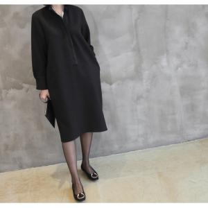 ワンピース レディース 40代 50代 60代 ファッション おしゃれ 女性 上品  黒 スーツワンピース 無地 きれいめ 長袖 膝丈 通勤 冬 ミセス|alice-style|14