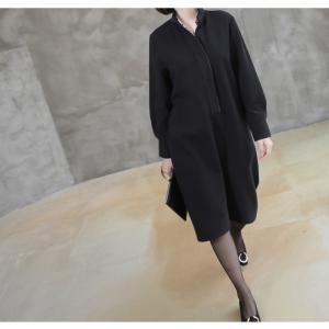 ワンピース レディース 40代 50代 60代 ファッション おしゃれ 女性 上品  黒 スーツワンピース 無地 きれいめ 長袖 膝丈 通勤 冬 ミセス|alice-style|04
