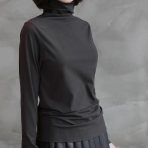 トップス レディース 40代 50代 60代 ファッション おしゃれ 女性 上品  黒  赤  茶色  グレー Tシャツ 長袖 無地 タートルネック 冬 ミセス|alice-style