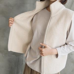 ニットベスト アウター レディース 40代 50代 60代 ファッション おしゃれ 女性 上品 グレー ファスナーライン ウール 無地 冬 ミセス|alice-style