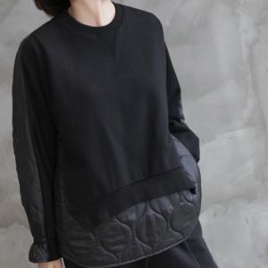 トップス レディース 40代 50代 60代 ファッション おしゃれ 女性 上品  黒  ベージュ 中綿 長袖 無地 あったか 冬 ミセス|alice-style