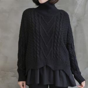 ニット レディース 40代 50代 60代 ファッション おしゃれ 女性 上品  黒  茶色 トップス セーター 無地 タートルネック 冬 ミセス|alice-style