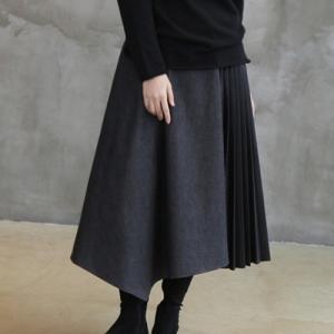 スカート レディース 40代 50代 60代 ファッション おしゃれ 女性 上品  黒 プリーツ 切り替え ロング丈 冬 ミセス|alice-style