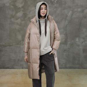 ダックダウンルーズフィットハイネックジャンパー レディース 40代 50代 60代 ファッション おしゃれ 女性 上品 ベージュ 無地 冬 ミセス|alice-style