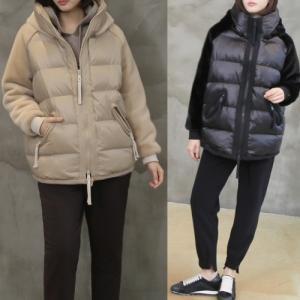 ジャンパー アウター レディース 40代 50代 60代 ファッション おしゃれ 女性 上品 黒 ベージュ フードパディング 3オンス ミンク配色 無地 冬 ミセス|alice-style