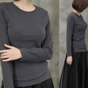 ラウンドネック トップス レディース 40代 50代 60代 ファッション おしゃれ 女性 上品 黒 ベージュ グレー Tシャツ 表起毛 ベーシック 無地 冬 ミセス|alice-style