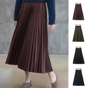 プリーツスカート レディース 40代 50代 60代 ファッション おしゃれ 女性 上品 黒 茶色 紺 青 カーキ 緑 ベルベット バンディング 無地 冬 ミセス|alice-style