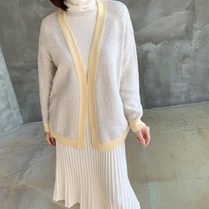 ライン配色 アウター レディース 40代 50代 60代 ファッション おしゃれ 女性 上品 ベージュ グレー Yカーディガン ウール 冬 ミセス|alice-style