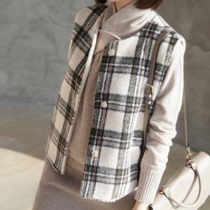 フリースベスト アウター レディース 40代 50代 60代 ファッション おしゃれ 女性 上品 茶色 ベージュ リバーシブルチェック 柄 冬 ミセス|alice-style