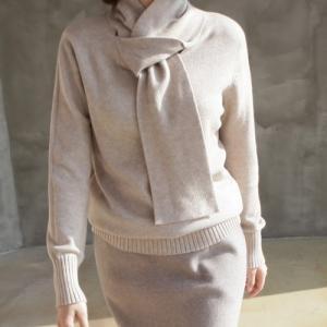 ソフトニット トップス レディース 40代 50代 60代 ファッション おしゃれ 女性 上品 黒 茶色 ベージュ グレー シャツ マフラーポイント 無地 冬 ミセス alice-style