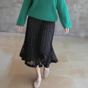 パールスカート レディース 40代 50代 60代 ファッション おしゃれ 女性 上品 黒 茶色 グレー 裾配色レース スケルトン 冬 ミセス|alice-style