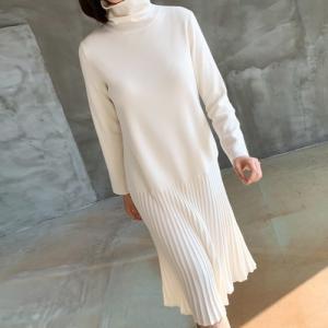 ニットワンピース レディース 40代 50代 60代 ファッション おしゃれ 女性 上品 黒 ベージュ プリーツ タートルネック 冬 ミセス|alice-style