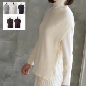 ハイネックニットベスト レディース 40代 50代 60代 ファッション おしゃれ 女性 上品 黒 ベルトセット 無地 冬 ミセス|alice-style