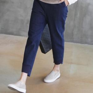 パンツ レディース 40代 50代 60代 ファッション おしゃれ 女性 上品 バンディングデニムパンツ サイドポケット 無地 冬 ミセス|alice-style