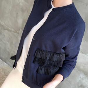 カーディガン レディース 40代 50代 60代 ファッション おしゃれ 女性 上品 黒 紺 青 立体カットレース バイカラー 冬 ミセス|alice-style