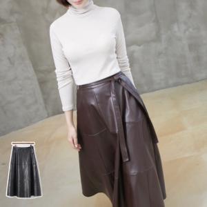 Aラインスカート レディース 40代 50代 60代 ファッション おしゃれ 女性 上品 茶色 バンディング  ベルト フェイクレザー 無地 ミセス alice-style