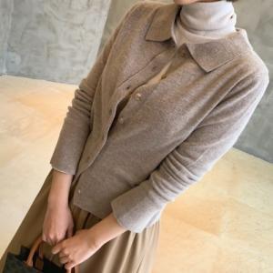 カーディガン レディース 40代 50代 60代 ファッション おしゃれ 女性 上品  ベージュ トップス 袖口切開カラーニット 長袖襟付き カーディガン 無地 冬 ミセス|alice-style