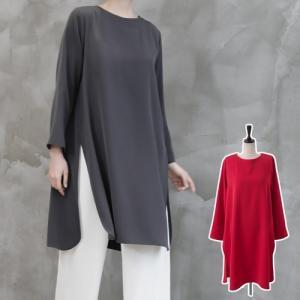 ブラウス レディース 40代 50代 60代 ファッション おしゃれ 女性 上品 黒 赤 ラウンド両サイドひらき 丸首 ロング 無地 長袖|alice-style