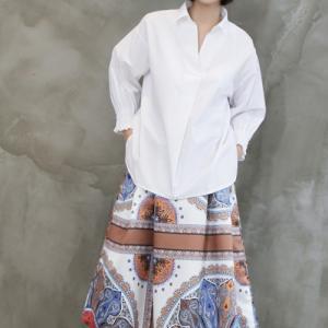 シャツブラウス レディース 40代 50代 60代 ファッション おしゃれ 女性 上品  白 Vネック シャーリング袖  シャツブラウス 無地 冬 ミセス|alice-style