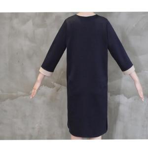 ワンピース レディース 40代 50代 60代 ファッション おしゃれ 女性 上品  黒  紺 青 ラインポイント Vネック 七分袖 裾スリット ワンピース 冬 ミセス|alice-style|12