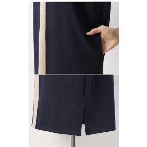 ワンピース レディース 40代 50代 60代 ファッション おしゃれ 女性 上品  黒  紺 青 ラインポイント Vネック 七分袖 裾スリット ワンピース 冬 ミセス|alice-style|19