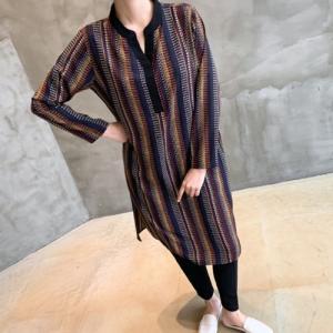 ブラウス レディース 40代 50代 60代 ファッション おしゃれ 女性 上品  黒  柄 ロング ブラウス 裾スリット 長袖 冬 ミセス|alice-style