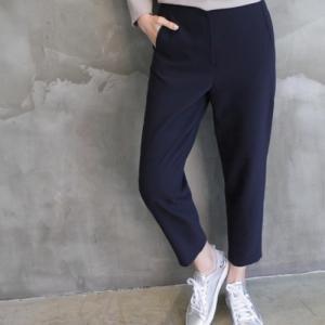 パンツ レディース 40代 50代 60代 ファッション おしゃれ 女性 上品 紺 青 後部バンディングパンツ シンプルスラックス 無地 冬 ミセス|alice-style