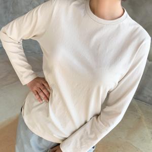 ブラウス レディース 40代 50代 60代 ファッション おしゃれ 女性 上品 黒 ベージュ カーキ 緑 コットンTシャツ 丸首 長袖 無地|alice-style