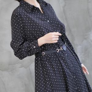 ワンピース レディース 40代 50代 60代 ファッション おしゃれ 女性 上品 黒 ハートドット Aラインロングシャツ ワンピース 前開き 長袖|alice-style