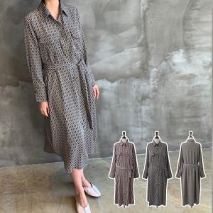 ワンピース レディース 40代 50代 60代 ファッション おしゃれ 女性 上品 黒 ベルトSET 胸ポケット 前開き 捺染 シャツロング 柄|alice-style