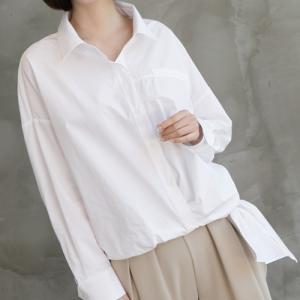 ブラウス 裾ねじれリボンシャツブラウス レディース 40代 50代 60代 ファッション おしゃれ 女性 上品 無地 長袖 冬 ミセス|alice-style