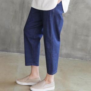 パンツ レディース 40代 50代 60代 ファッション おしゃれ 女性 上品 黒 バンディング デニム ウエストゴム サイドポケット 無地 ミセス|alice-style