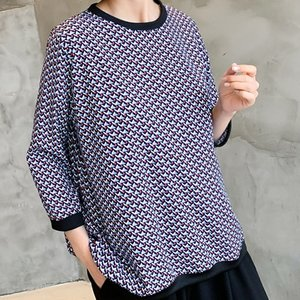 ブラウス レディース 40代 50代 60代 ファッション おしゃれ 女性 上品 紺 青 パターン捺染しぼりブラウス ゆったりめ 七分袖 柄|alice-style