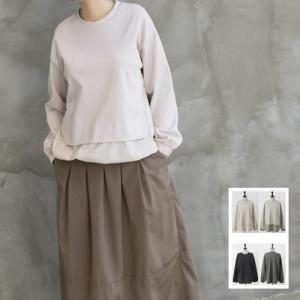ブラウス レディース 40代 50代 60代 ファッション おしゃれ 女性 上品 黒 グレー 配色バンディングラウンドTシャツ 丸首 無地|alice-style