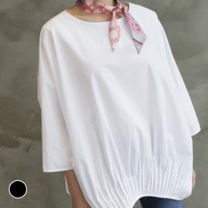 ルーズフィットブラウス レディース 40代 50代 60代 ファッション おしゃれ 女性 上品 黒 白 ラウンドネック ピンタック 長袖 無地 ミセス|alice-style