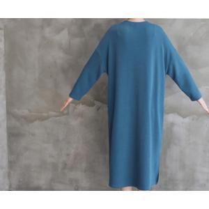 ワンピース ルーズフィット レディース 40代 50代 60代 ファッション おしゃれ 女性 上品 スリット 無地 ニットワンピース 長袖 冬 ミセス|alice-style|10