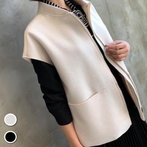 カーディガン ビッグポケット レディース 40代 50代 60代 ファッション おしゃれ 女性 上品 黒 ジップアップ ベスト フレンチ袖 冬 ミセス|alice-style