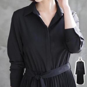 ワンピース ベルトSET レディース 40代 50代 60代 ファッション おしゃれ 女性 上品 黒 プリーツワンピース長袖 無地 冬 ミセス|alice-style