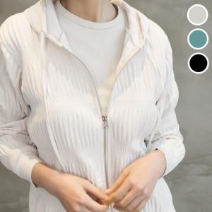 ボリューム レディース 40代 50代 60代 ファッション おしゃれ 女性 上品 黒 シャーリングポイントフード ジップアップジャンパー 冬 ミセス|alice-style