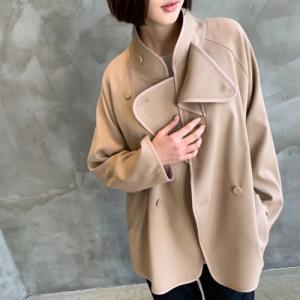 ダブルボタンの二重ハイネックジャケット レディース 40代 50代 60代 ファッション おしゃれ 女性 上品 ベージュ 無地 長袖 冬 ミセス|alice-style