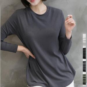 Tシャツ レディース 40代 50代 60代 ファッション おしゃれ 女性 上品 黒 グレー カーキ 緑 Aラインテンセルラウンド 無地 長袖|alice-style