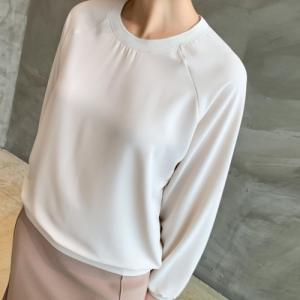 ブラウス 後部バンディングしぼり レディース 40代 50代 60代 ファッション おしゃれ 女性 上品 黒 ベージュ ラウンドネック 長袖 ミセス|alice-style