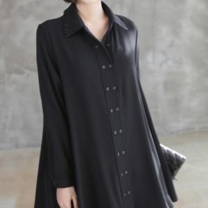 ブラウス 襟プリーツダブルボタンAラインブラウス レディース 40代 50代 60代 ファッション おしゃれ 女性 上品 黒 無地 長袖 冬 ミセス|alice-style